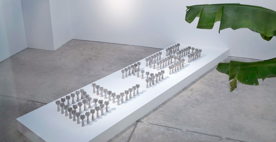 """Title : Bliss Installation Mortar tail fins from Vietnam War  Size: 125.5"""" x 25"""" x 7.5"""" inch Year : 2016"""