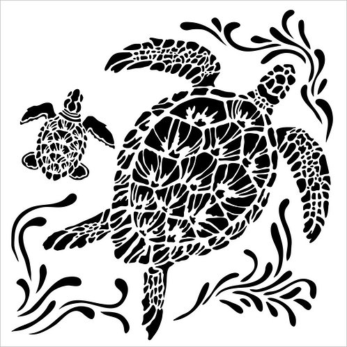 Mini Sea Turtles 6x6 Stencil