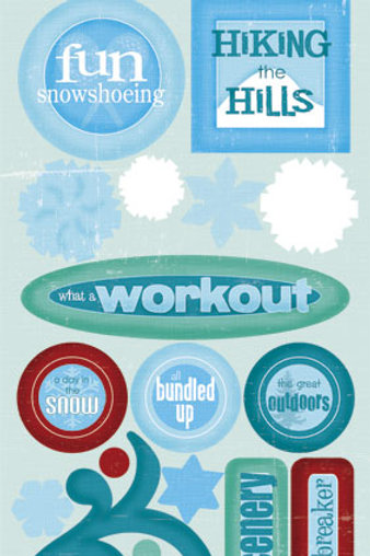Snowshoeing Fun Stickers