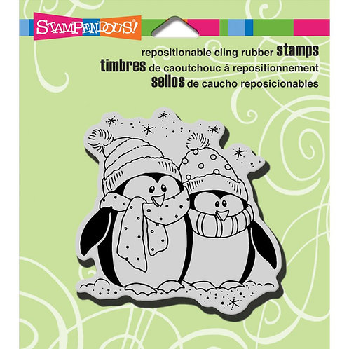 Bundled Penquins Cling Rubber Stamp