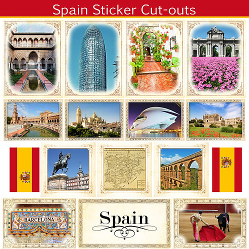 Spain Picture Cut Out Sticker Sheet