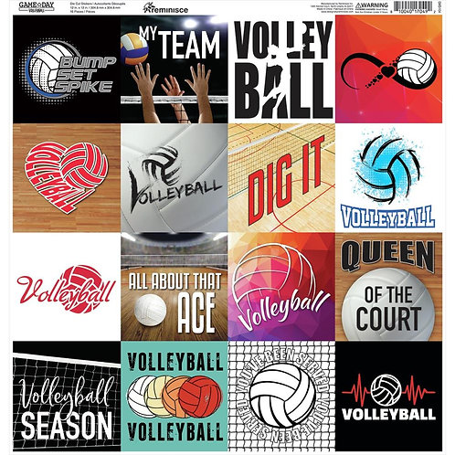 Game Day Volleyball Square Sticker Sheet