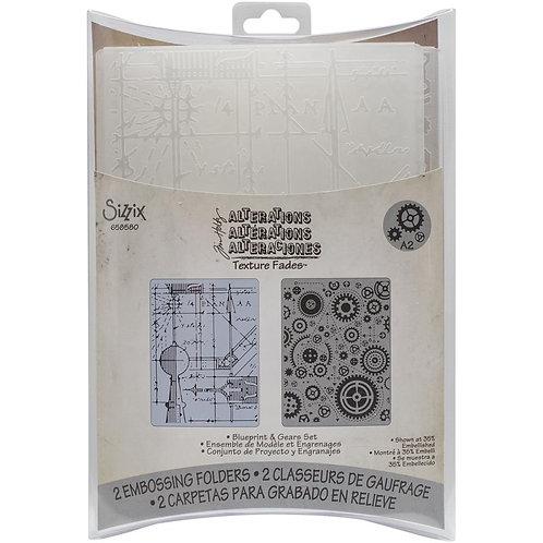 Blueprint and Gears Embossing Folder Set