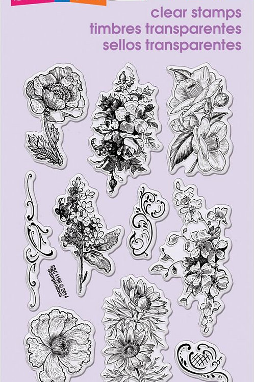 Frantage Flowers Clear Stamps