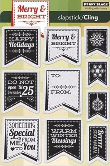 Christmas Banners Cling Rubber Stamp Set
