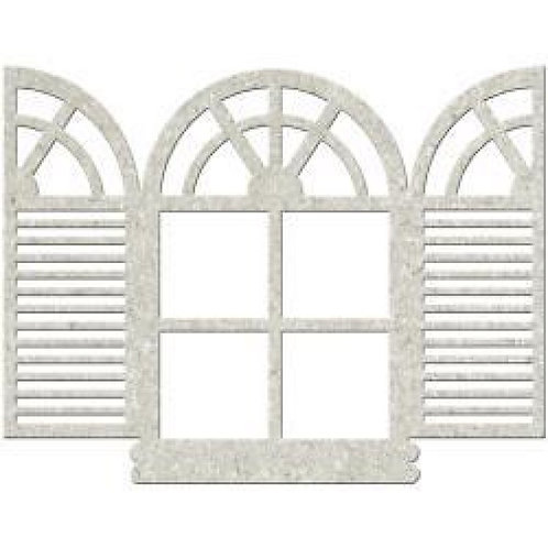 Window with Shutters Chipboard