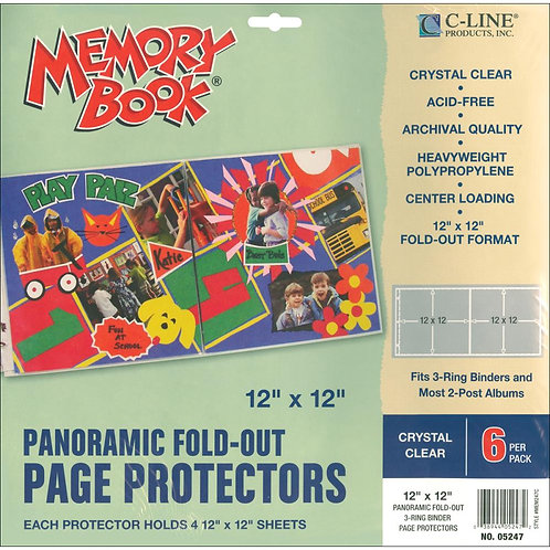 Panoramic Fold Out Page Protectors 6 pk