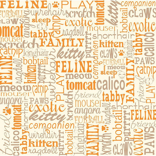 Cat Words on Ivory Cardstock