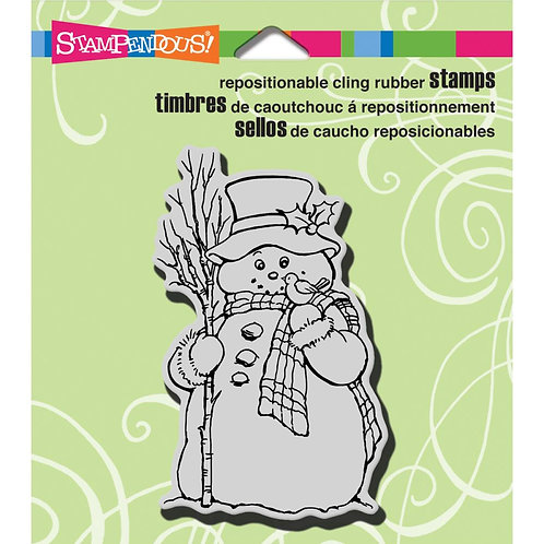 Country Snowman Cling Rubber Stamp