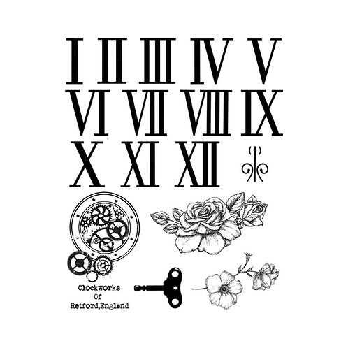 Clock Works of Retford, England Cling Stamp Set