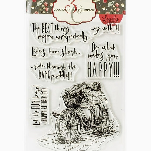 Lovely Legs Happy Bicycle Clear Stamp Set