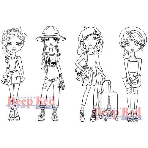 Deep Red Cling stamps City Girls Traveling in Style