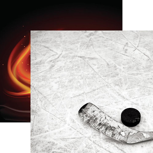 Game Day Hockey Puck and Stick Cardstock