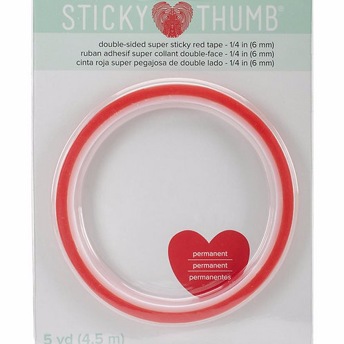 Sticky Thumb Red Tape 1/4 inch