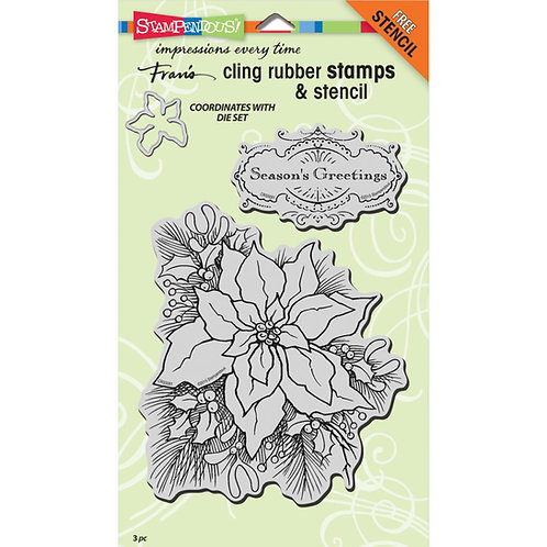 Create a Poinsettia Cling Rubber Stamp Set