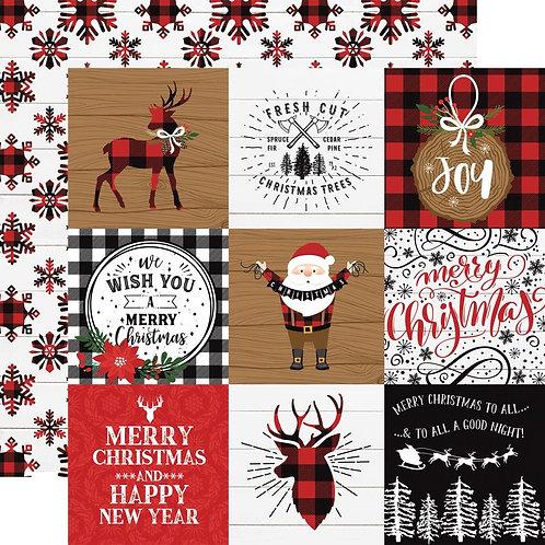 Lumberjack Christmas 4x4 Journaling Cards Cardstock