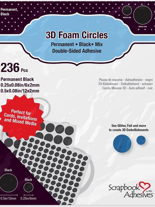 3D Foam Circles, Black Mix
