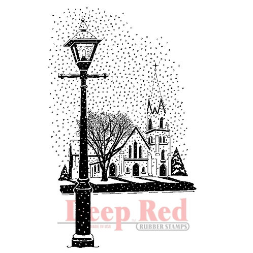 Winter Church Rubber Stamp