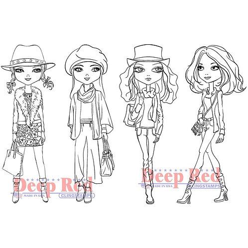 Deep Red Stamp City Girls Fall Fashion