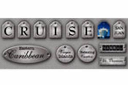 Antiqued Metallic Caribbean Cruise Tags