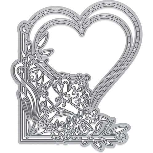 Fanciful Floral Blossomed Heart Corner Die