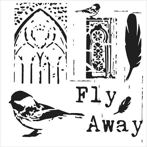 Mini Fly Away 6x6 Stencil