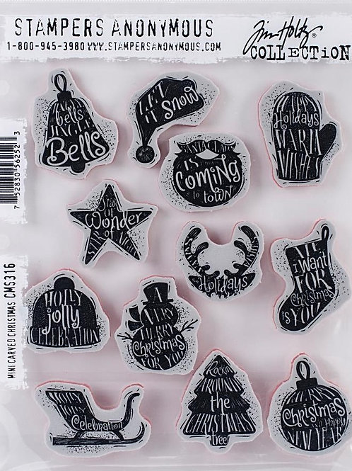 Mini Carved Christmas Cling Rubber Stamp Set