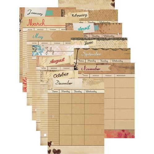 Mixed Media Calendar Refill Pages