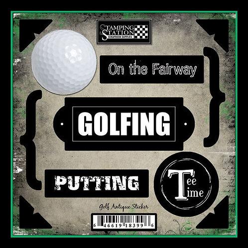 Golf Antique Sticker Sheet