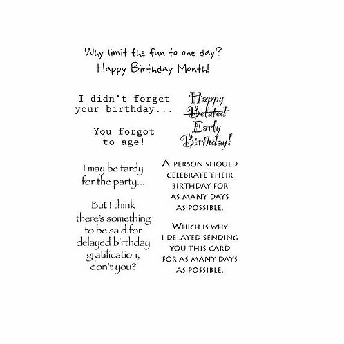Belated Birthday Words to the Rescue, Clear Stamps