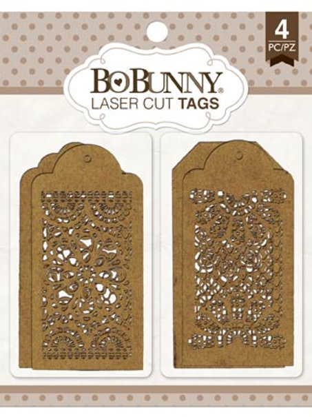 Laser Cut Chipboard Tags, Lace