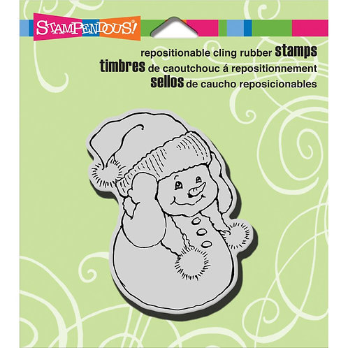 Snowman Warm Ears Cling Rubber Stamp