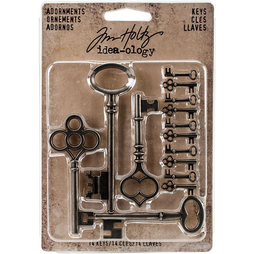 Tim Holtz Adornments Silver Keys