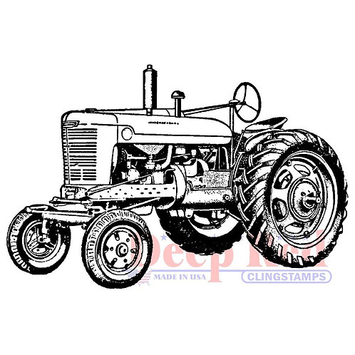 Vintage Farm Tractor Rubber Stamp