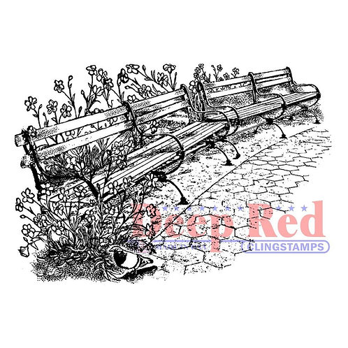 Park Benches Rubber Stamp