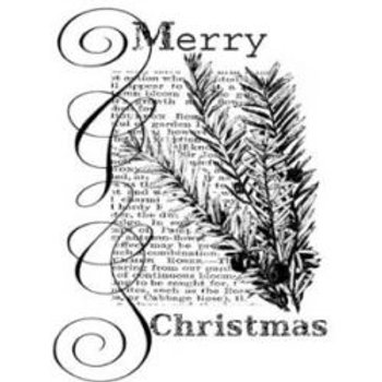 Wood Mounted Christmas Text Stamp