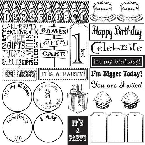 Happy Birthday Sampler on White Cardstock