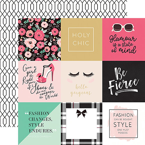 Fashionista 4x4 Journaling Card Cutapart Cardstock