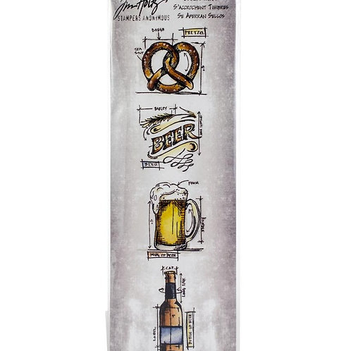 Tim Holtz Beer Mini Blueprints Stamp Set