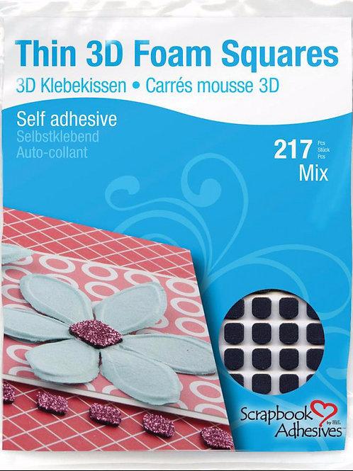 Thin 3D Foam Squares, Black Mix