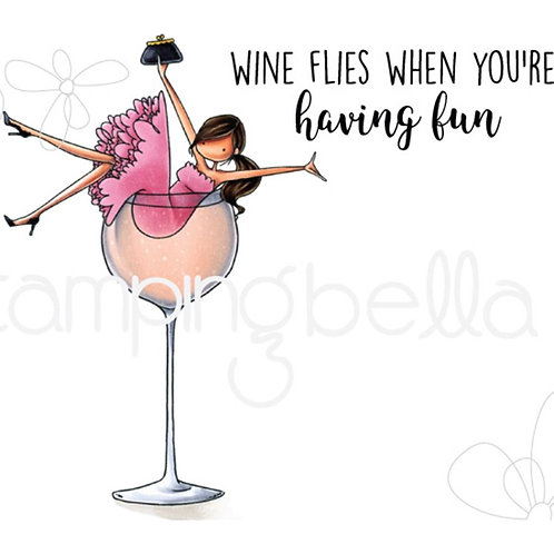 Wilma Loves Wine Cling Rubber Stamp Set