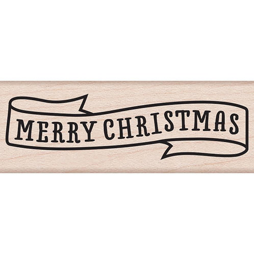 Merry Christmas Banner, Wood Mounted Stamp