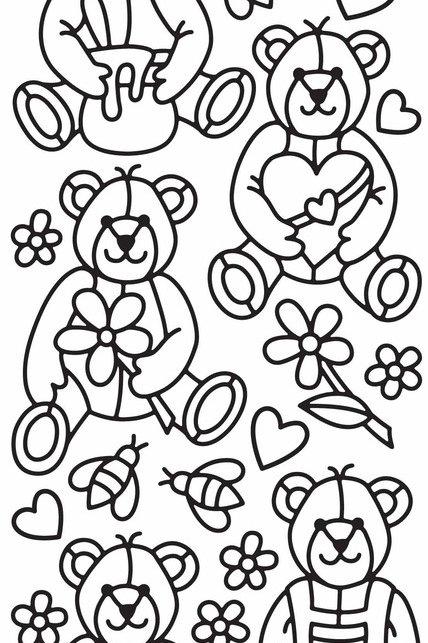 Teddy Bears Peel off Stickers, Black