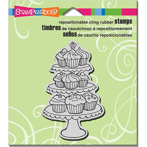 Cupcake Tiers Cling Rubber Stamp