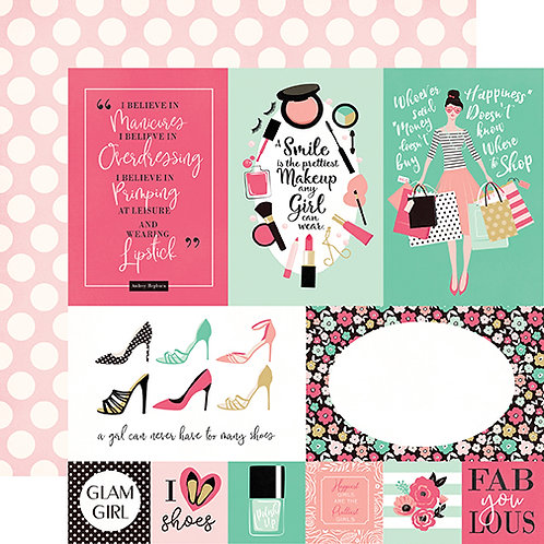 Fashionista Multi Journaling Card Cutapart Cardstock