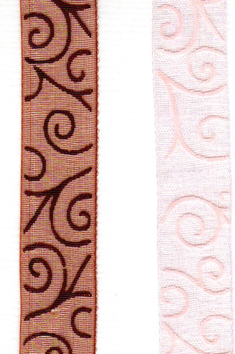 Sheer Organdy Ribbon with Lace Swirls