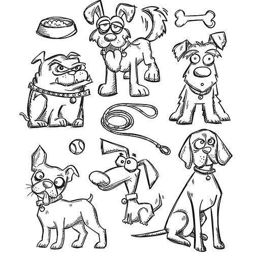 Crazy Dogs Cling Rubber Stamp Set