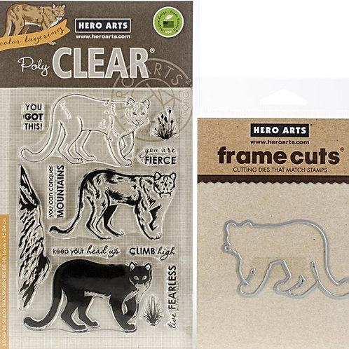 Hero Arts Color Layering Stamp and Die Bundle Mountain Lion