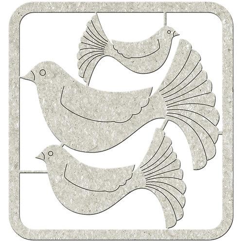 Fantail Birds Chipboard Pieces
