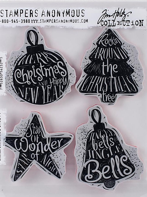 Carved Christmas 2 Cling Rubber Stamp Set